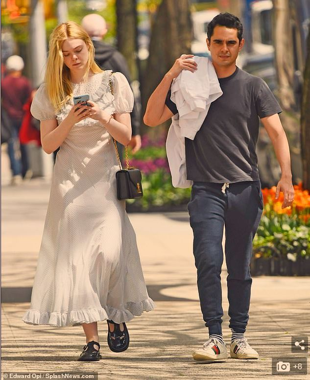 Elle Fanning goes on LA Walk with her Grand Mother and Dog