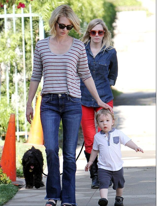 January Jones Candid On Son & Baby Father; Boyfriend ...