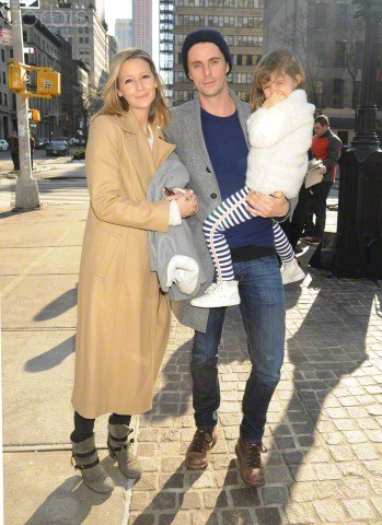 Matthew Goode and Sophie Dymoke together with their daughter