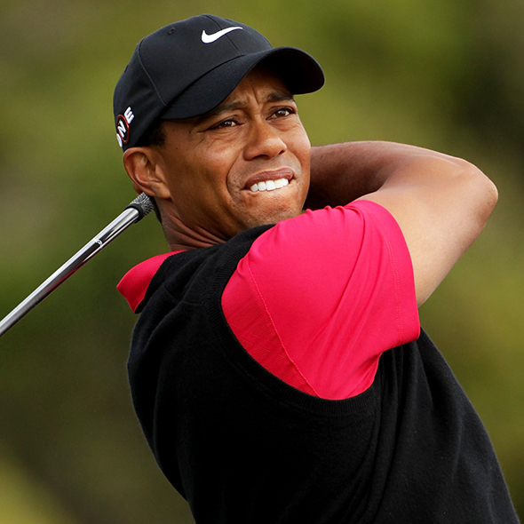 Professional Golfer Tiger Woods Trips on his Season Opening Round after his return to Farmers Insurance Open